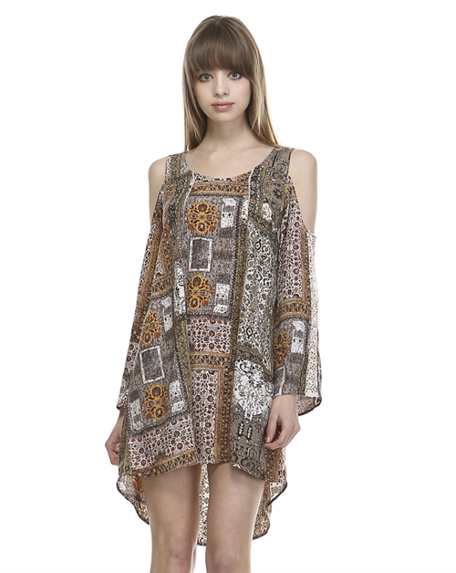 MIX PRINT COLD SHOULDER DRESS - orangeshine.com