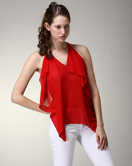 SHEER TANK TOP W/HANKERCHIEF - orangeshine.com