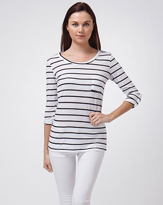 TAB BUTTON SLEEVE STRIPE TOP - orangeshine.com