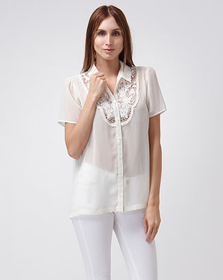 SOLID LACE COLLAR TOP - orangeshine.com