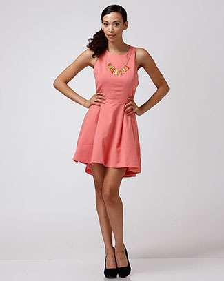 SOLID DRESS W/ NECKLACE - orangeshine.com