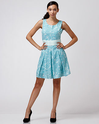 FLORAL RUFFLE DRESS W/ WAIST BELT - orangeshine.com