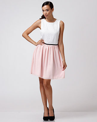 TWO TONE FLARE DRESS - orangeshine.com