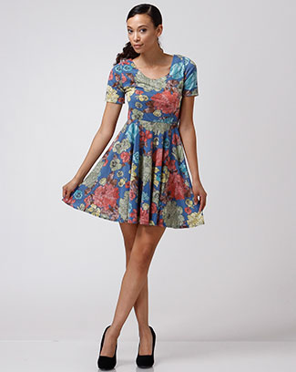 FLORAL FLARE DRESS - orangeshine.com