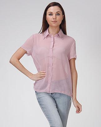 SHORT SLEEVE SOLID BUTTON UP TOP - orangeshine.com