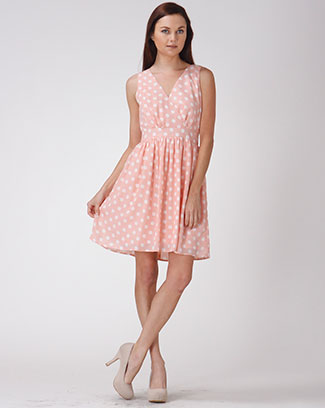 POLKA DOT FLARE DRESS - orangeshine.com