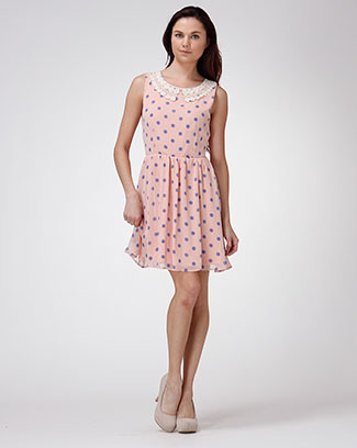 POLKA DOT PRINT LACE COLLAR DRESS - orangeshine.com