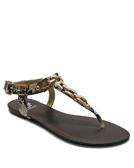 TOE THONG SANDAL WITH GOLD CHAIN - orangeshine.com