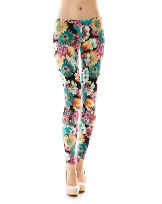 3D FLOWER PRINT LEGGINGS - orangeshine.com