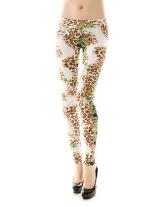 FLOWER/LEOPARD PRINT LEGGINGS - orangeshine.com