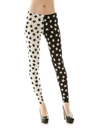 BLACK/WHITE STAR LEGGINGS - orangeshine.com