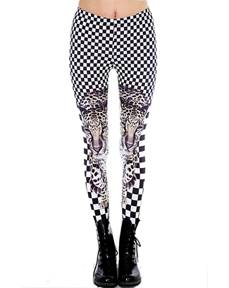 ANIMAL FACE PRINTED LEGGINGS WITH CHECKE - orangeshine.com