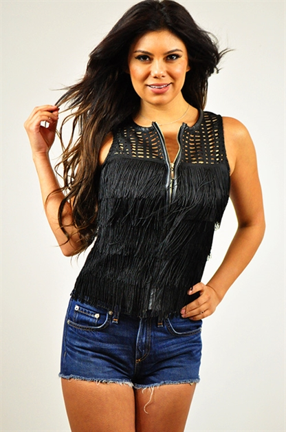 Fringe Zip Up Vest - orangeshine.com