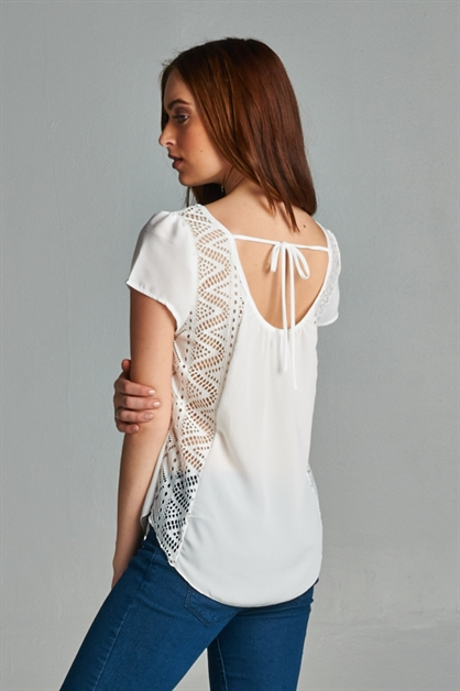 SOLID TOP WITH LACE PANEL BACK - orangeshine.com
