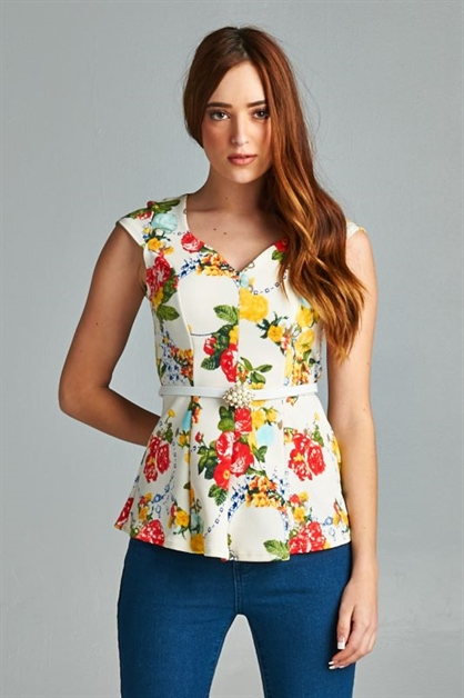 FLORAL FIT AND FLARE TOP - orangeshine.com