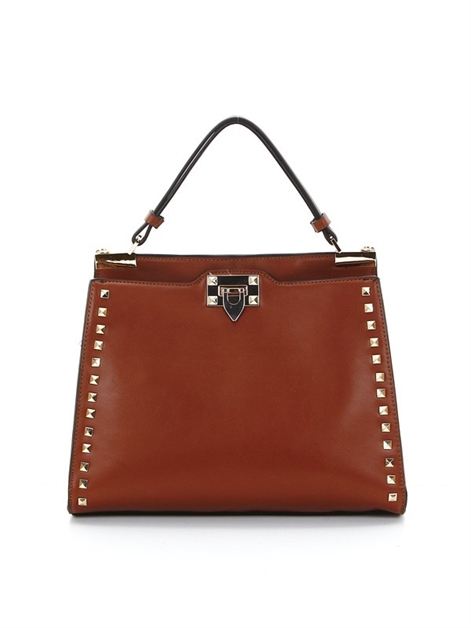 Studded double pocket satchel - orangeshine.com