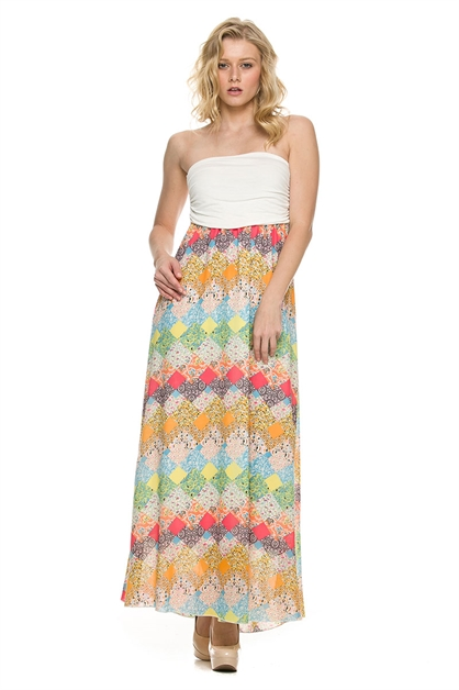 TUBE STRIPE MAXI DRESS - orangeshine.com