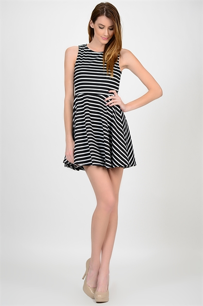Striped Marine Dress - orangeshine.com