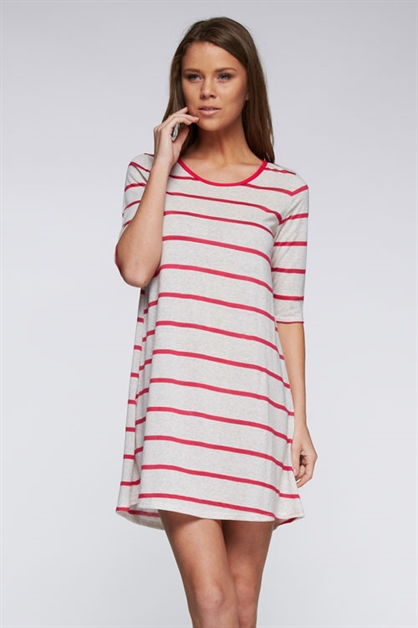 3/4 Sleeves Striped Tunic Dres - orangeshine.com