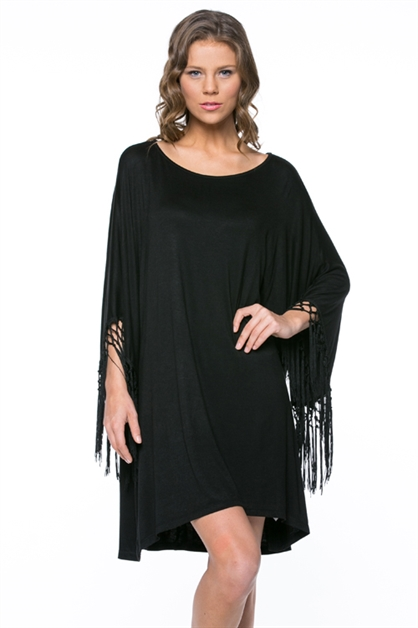 Fringe Sleeve Tunic Dress - orangeshine.com