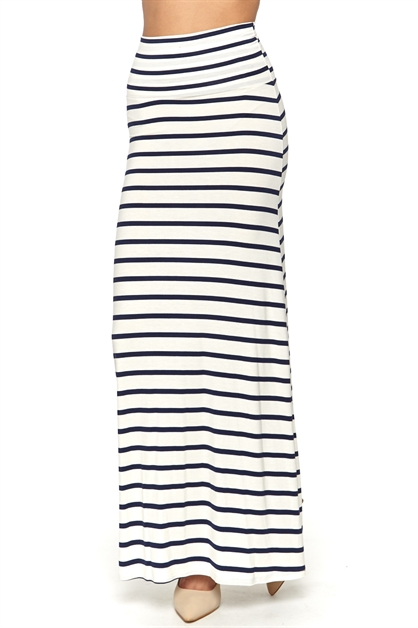 NAVY  IVORY STRIPE MAXI SKIRT - orangeshine.com