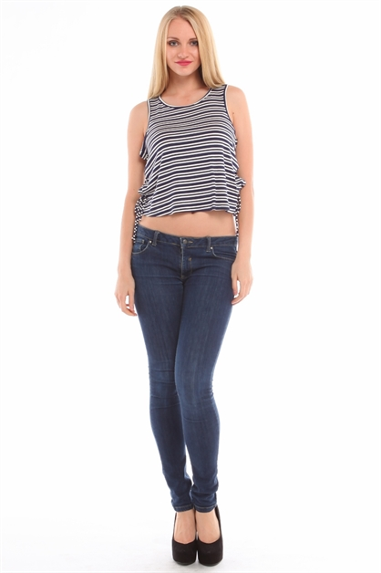 Striped Side Tie Tank T11268 - orangeshine.com
