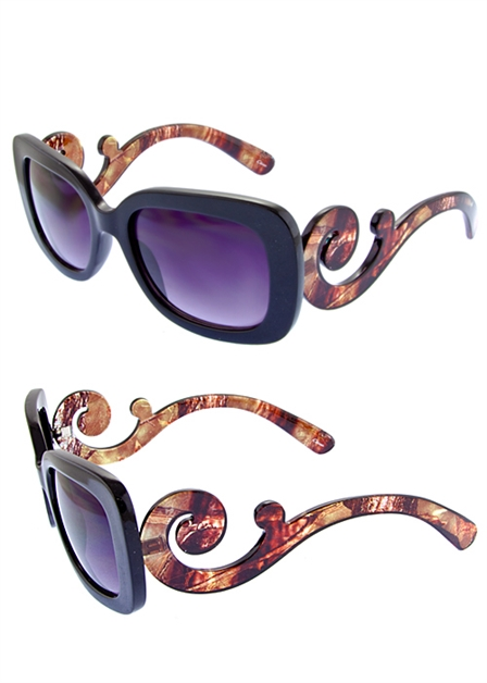 Square Swirl Temple Sunglasses - orangeshine.com