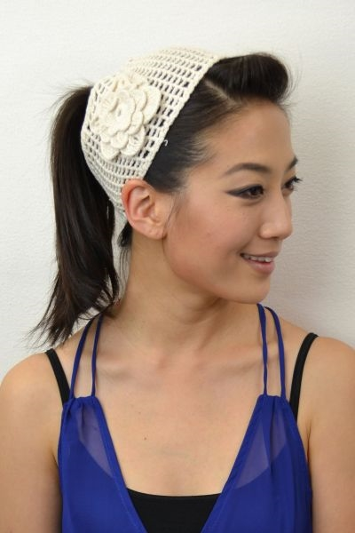 WIDE FLOWER CROCHET HAIRBAND - orangeshine.com