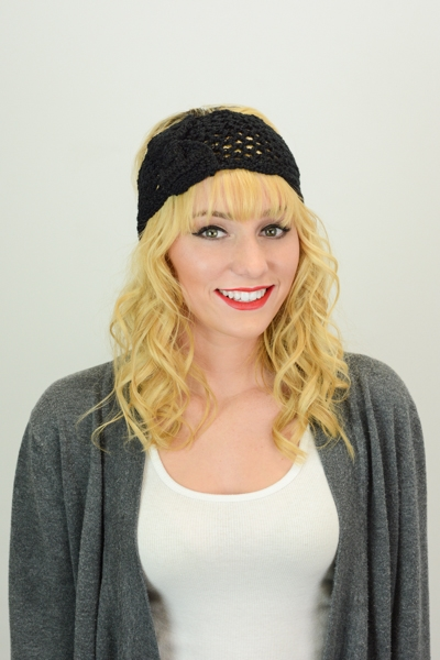 CROCHET HEADBAND WITH BOW - orangeshine.com