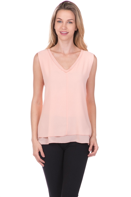 CHIFFON LAYER CUTOUT BACK TOP - orangeshine.com