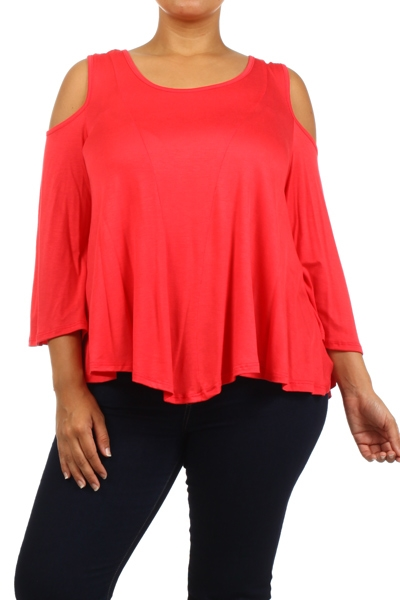Cold shoulder bell sleeve top - orangeshine.com