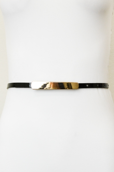 Patent Skinny Belt with Gold Buckle - orangeshine.com