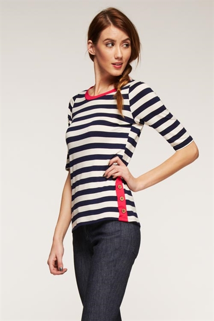 Short Sleeves Striped Top - orangeshine.com