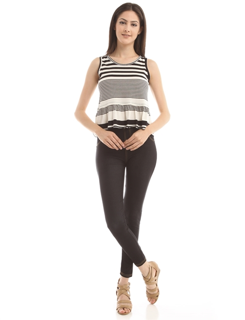 Striped Peplum Top T11531-3 - orangeshine.com