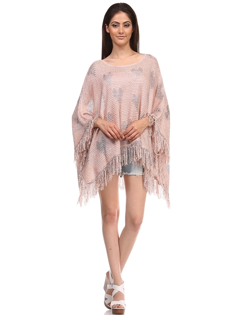 -Knitted Heart Sweaters Poncho Top - - orangeshine.com