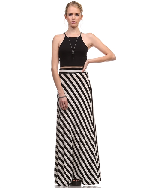 DIAGONAL STRIPE MAXI SKIRT - orangeshine.com