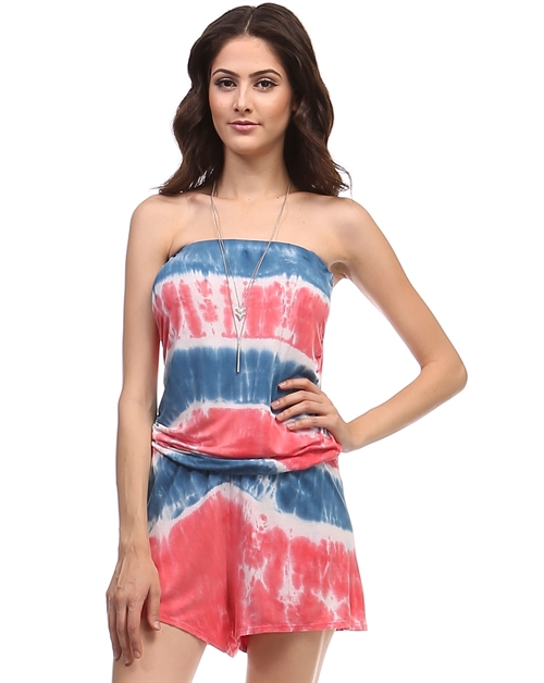 Striped Tie dye romper - orangeshine.com