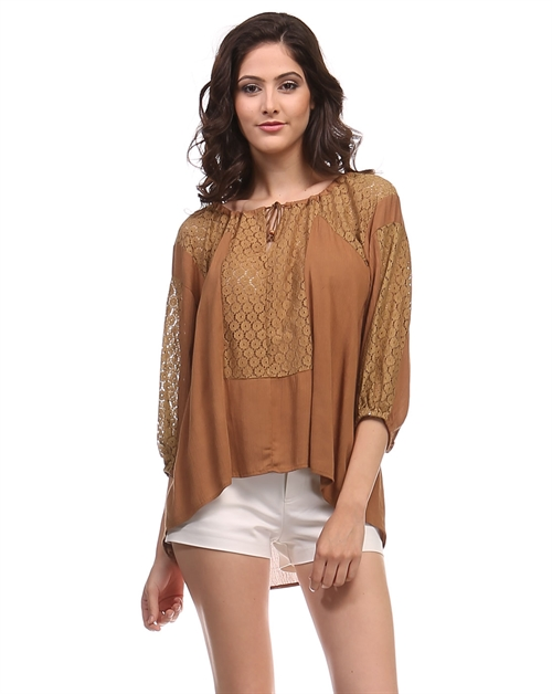 -Bohemian Peasant Lace Top - - orangeshine.com