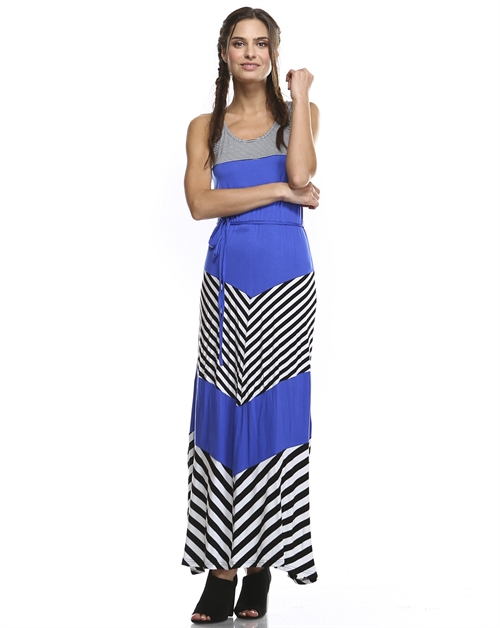 ASYMMETRIC STRIPED MAXI DRESS - orangeshine.com