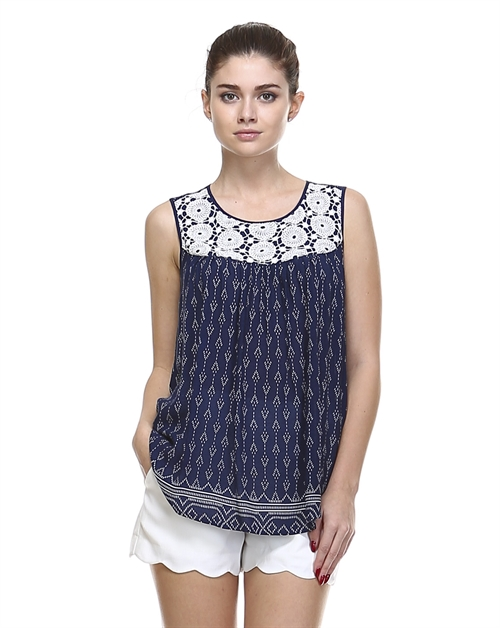 CROCHET PRINTED TOP - orangeshine.com