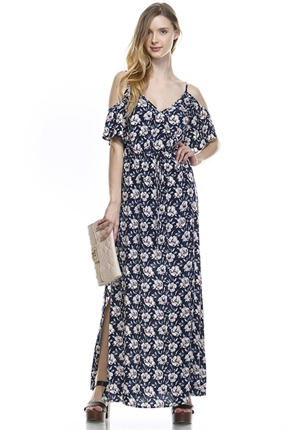 OPEN SHOULDER PRINTED DRESS - orangeshine.com