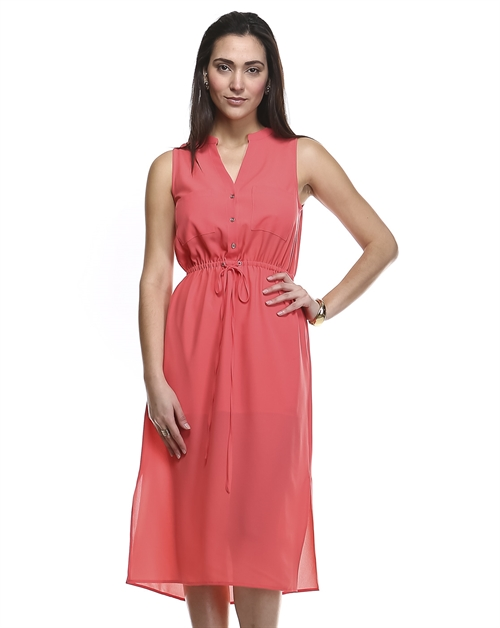SOLID SHEER LINED DRESS - orangeshine.com