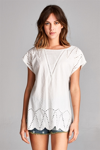 Pure Love Eyelet Blouse - orangeshine.com