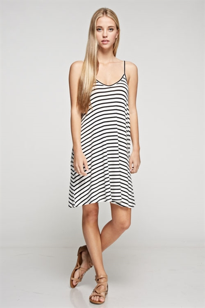 STRIPE JERSEY CAMISOLE DRESS - orangeshine.com