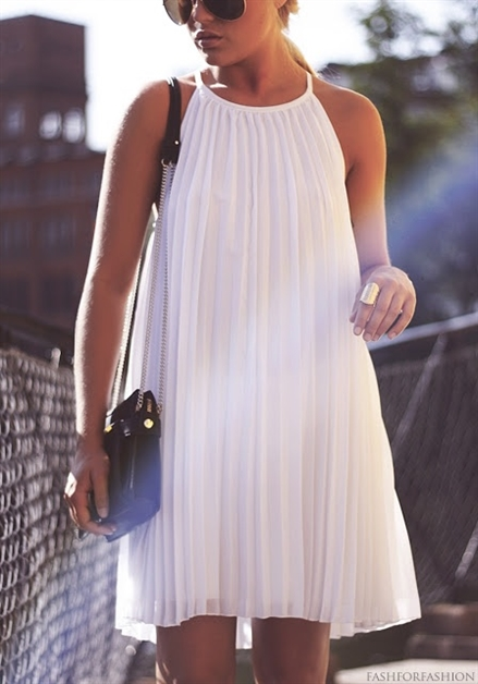 CHIFFON PLEATED DRESS - orangeshine.com