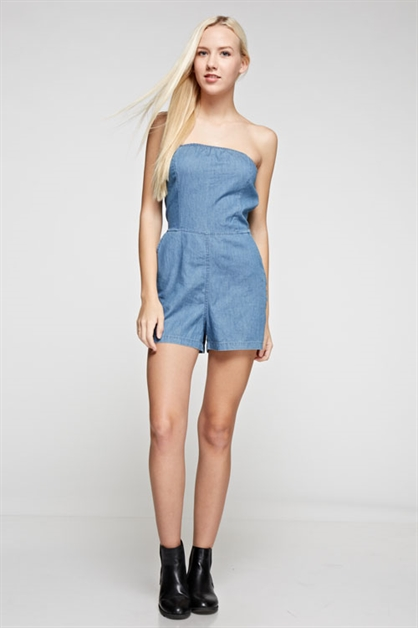 Denim Tube Romper - orangeshine.com