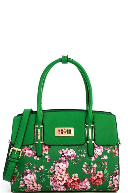 Multi Flower Chic Satchel - orangeshine.com