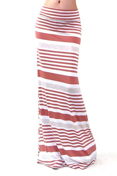 MIXED STRIPE MAXI SKIRT - orangeshine.com