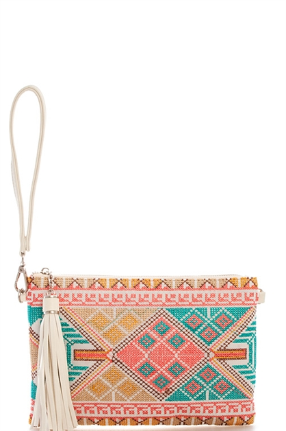 Woven Pattern Clutch - orangeshine.com