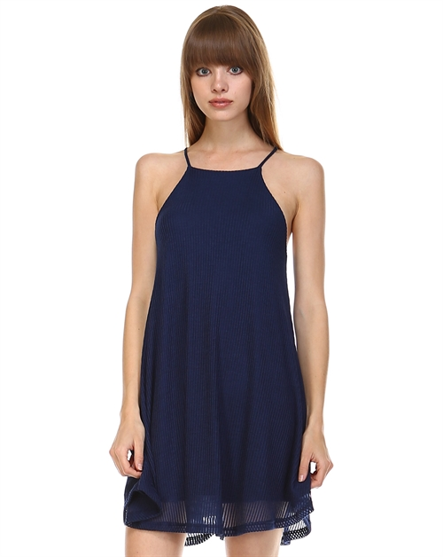 RIBBED HI NECK TRAPEZE DRESS - orangeshine.com